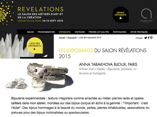 Salon REVELATIONS Grand Palais anna tabakhova bijoux Paris