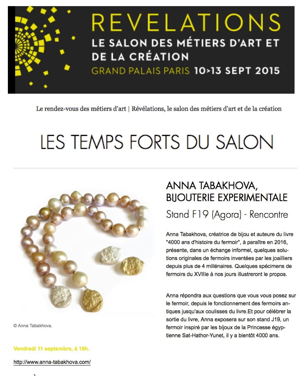 Salon REVELATIONS Grand Palais anna tabakhova echange rencontre