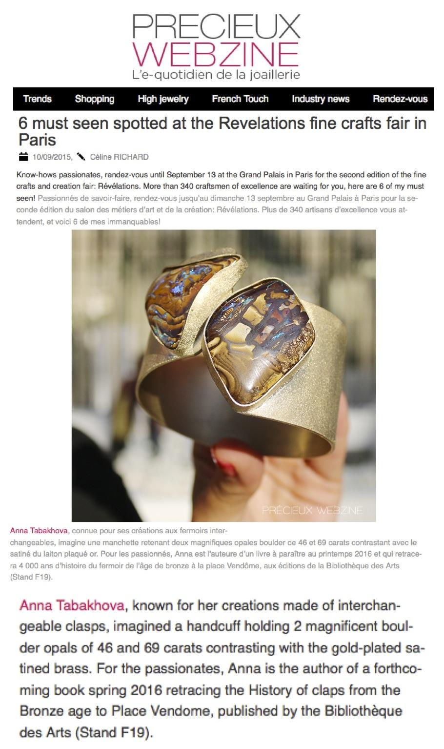 Precieux webzine presse manchette deux opales anna tabakhova bijoux, Paris