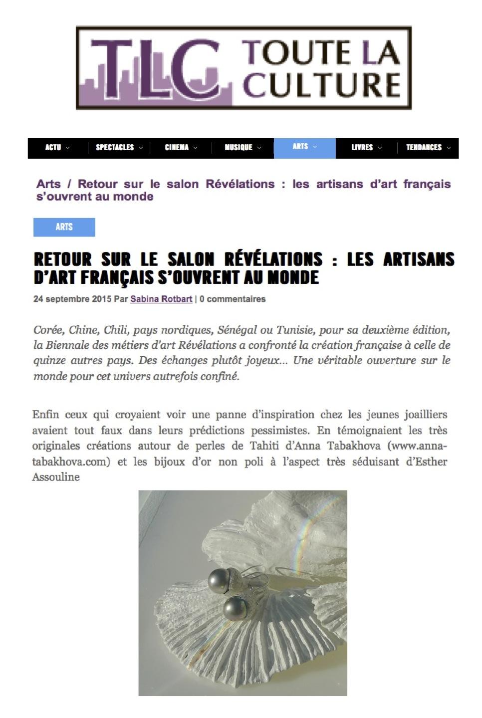 anna tabakhova Paris presse toutelaculture