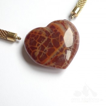 Fire agate heart-shaped InterChageable Clasp